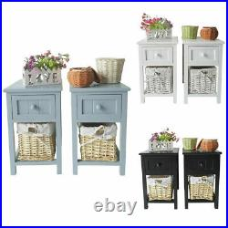 1/2 X White Bedside Tables With 2 Drawers Night Stand Cabinet Storage Furniture