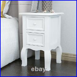 1/2 x White Bedroom Small Bedside Tables Unit Cabinets with 2 Drawers Storage