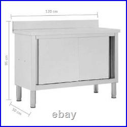 100cm/120cm Work Table With Sliding Doors Stainless Steel Kitchen Storage Cabinet