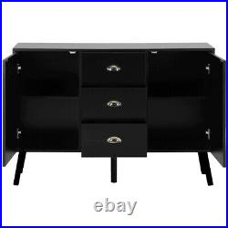 119cm Black Cabinet Storage Unit Sideboard 3 Drawers Cupboard Console Table New