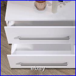 2 Drawers Bedside Cupboard Table Cabinet Nightstand Storage High Gloss LED GRB