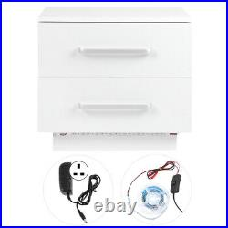 2 Drawers LED Light Bedside Table Side Nightstand Storage Cabinet High Gloss UK