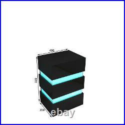 2 Drawers MDF Bedside Table Cabinet RGB Bedroom Furniture Storage Nightstand UK