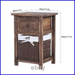 2 PCS Wooden Bedside Tables Storage Rack Brown 1 Drawers 1 Wicker Basket Cabinet