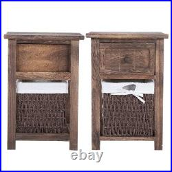 2 x Bedside Tables With Wicker Storage Baskets Bedroom Furniture Cabinet