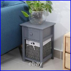 2PCS Fabric Chest of Drawers Bedside Cabinet Table Storage Unit Grey Bedroom UK