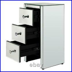 2PCS Glass Mirrored Bedside Tables Crystal Bedroom Side Drawer Storage Cabinet
