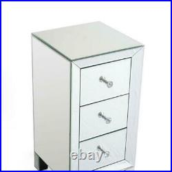 2PCS Mirrored 3 Drawer Bedside Table Cabinet Bedroom Storage Pair Nightstands