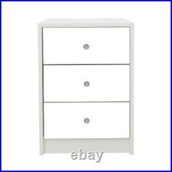 2X Mirrored Bedside Table Unit Matt Cabinet 3 Storage Drawers Bedroom Nightstand