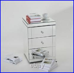 2XVanity 3 Drawer Mirrored Glass Bedside Cabinet Bedroom Storage Table Furniture