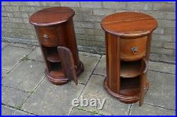 2x Round Side Table Bedside Coffee Cabinet Storage Nightstand solid wood mexican