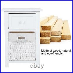 2x Wooden Bedside Tables Nightstand Cabinet Storage Drawer Wicker Basket Unit