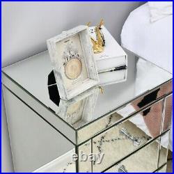 3 Drawer Home Mirrored Furniture Glass Storage Bedroom Bedside Cabinet Table UK
