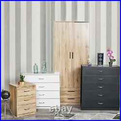 4 Piece Wooden Bedroom Set Wardrobe Chest Cabinet Bedside Table Clothes Storage