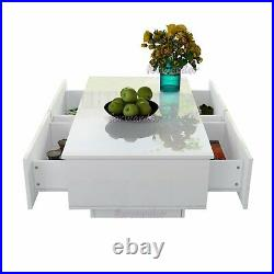 4 Storage Drawers Coffee Tea Table LED Modern High Gloss Living Room Furniture
