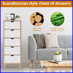 5 Drawer Wooden Bedside Table Bedroom Tall Storage Cabinet Nightstand Wooden