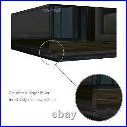 95cm High Gloss Coffee Table with4 Storage Drawer Modern Side Table Optional LED