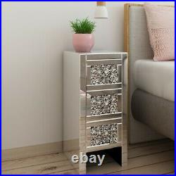 A Pair Mirrored Bedside Tables Unit Nightstand Cabinet withDrawers Bedroom Storage