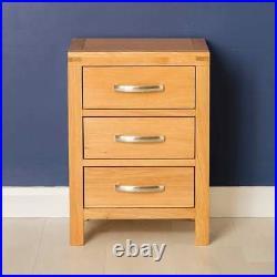Abbey Light Oak Bedside Table 3 Drawer Cabinet Modern Solid Wood Bedroom Storage