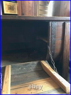 Antique/Vintage French Oak Topped Table/Drinks Cabinet Hinged Front for Storage