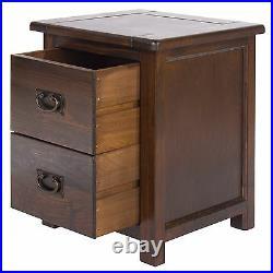Baltia Dark Wood Large 2 Drawer Bedside Cabinet Table Solid Wood Storage