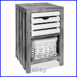 Bedroom Cabinet Bedside Bathroom Table Nightstand Storage Unit Wicker Grey New