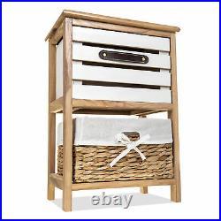 Bedroom Cabinet Bedside Bathroom Table Nightstand Storage Unit Wooden Wicker New