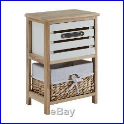 Bedside Bedroom Bathroom Table Cabinet Nightstand Storage Unit Wooden Wicker New