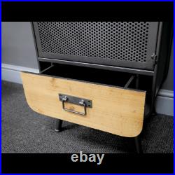 Bedside Cabinet Lamp Table Industrial Style Bedside Drawers Storage Cabinet
