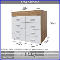 Bedside Drawer Table Sideboard Cabinet Storage Stand Bedroom Furniture 8 Drawers