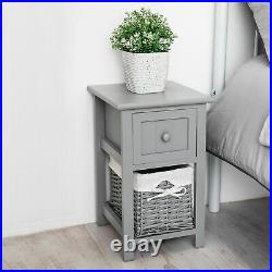 Bedside Shabby Chic Wooden Unit Tables Drawers Cabinet + Wicker Storage Grey Uk