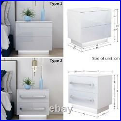 Bedside Table Cabinet 2 High Gloss Chest Drawer Nightstand RGB LED Light Bedroom