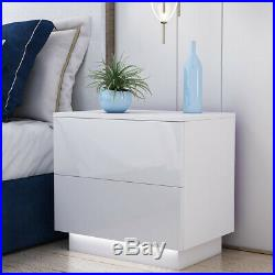 Bedside Table Cabinet With 2 High Gloss Drawers RGB LED Light Bedroom Nightstand