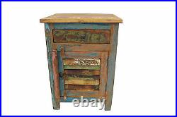 Bedside Table Solid Reclaimed Teak Wood Louvered Door Bedroom Storage Cabinet