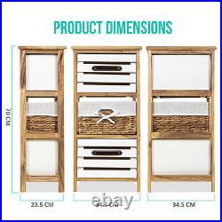 Bedside Table Unit Cabinet Wicker Basket 2/3 Drawer Nightstand Storage Bathroom