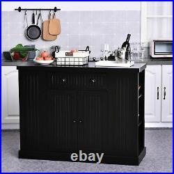 Black Kitchen Island Large Storage Cabinet Buffet Sideboard Breakfast Bar Table