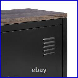 Black TV Media Unit Stand Metal Storage Cabinet with Doors Console Table 120CM