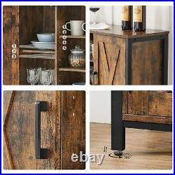 Buffet Table Sideboard Storage Cabinet with Cupboard Shelves Barn Door LSC098B01