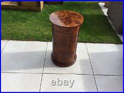 Burr Elm Cylindrical Pot Cupboard Bedside Table Storage Drinks Cabinet VGC