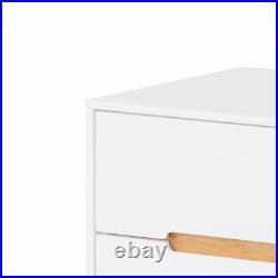 Cabinet, Alicia White and Oak Wood Scandinavian 2 Drawer Bedside Bedroom Storage