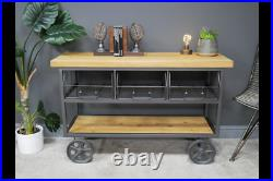 Cart Style Industrial Wheeled Storage Cabinet Wood / Metal Mesh Drawers