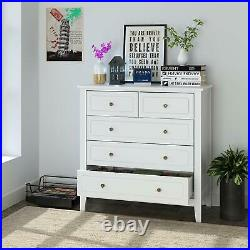 Chest of Drawers White Bedside Table 5 Storage Cabinet Cupboard Bedroom Hallway