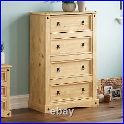 Corona 4 Drawer Chest Cabinet Table Mexican Solid Waxed Pine Bedroom Storage