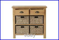 Country Oak 2 Drawer Side Cabinet / Cupboard Storage Unit Side Table