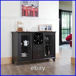 Dark Brown Wine Rack Storage Buffet China Cabinet Dining Display Table 2 Doors