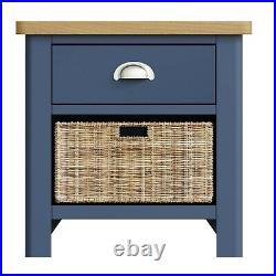 Dovedale Blue 1 Drawer 1 Basket Lamp Table / Modern Side Storage Cabinet