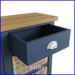 Dovedale Blue 1 Drawer 2 Basket Lamp Table / Modern Side Storage Cabinet