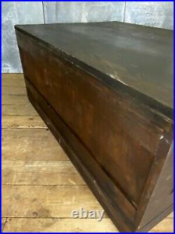 Early Vintage Antique Architects Plan Chest Storage Cabinet Coffee Table