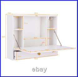 Floating Dressing Table White Vanity Unit Wall Mounted Desk Storage Cabinet UK