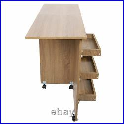 Foldable Sewing Table Craft Workstation with Storage Cabinet & Lockable Casters